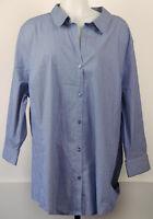 NEW NWT Worthington Dark Blue/White Striped Button-Front 3/4 Sleeve Shirt 3X