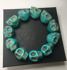 Large Faux Turquoise Skull Bracelet Unisex