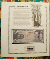 Venezuela Banknote 10 Bolivares 1980 P 57a UNC  w/FDI UN FLAG STAMP Prefix A