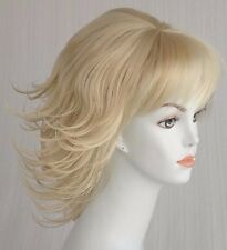 Blond Short/Mid-length Straight wig w/Side/Back Flips