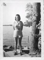 Vintage Old 1940s Photo of Pretty Woman Girl Wearing Short Shorts at the Lake 💥