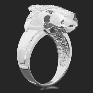 Amazing Panther Face Design With White Cubic Zirconia & Black Onyx Eye's Ring