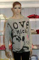 Grace NEU Gr.M Pullover Mickey-Mouse Love Grau light Grey
