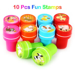 10pcs Set Stamps Cartoon Stampers Toys For Kids Self-ink Stamps School Prizes