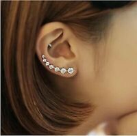 Sterling Silver Ear Crawler CZ Crystal Ear Climber Earrings Clip Cuff Earrings