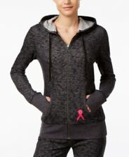 Ideology Women's Pink Ribbon Heathered Charcoal Heather Hoodie, Small