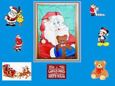 Very Nice Large Decorative House Flag. Santa with Teddy Bear. USA SELLER.