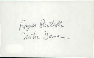 Angelo Bertelli Notre Dame Fighting Irish Signed 3x5 Index Card JSA Authentic