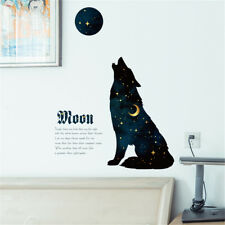 Night Sky Wolf Moon Room Home Decor Removable Wall Stickers Decals Decoration