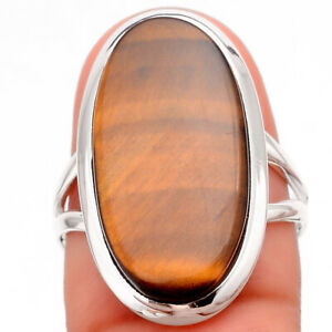 Natural Tiger Eye - Africa 925 Sterling Silver Ring s.8 Jewelry 7291