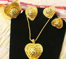 African 24 K Gold Plated Heart Jewelry Set.