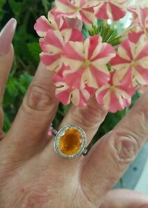 Oval Cut Deep Golden Yellow Citrine Halo Ring, Sterling silver, Size 8
