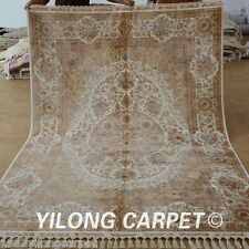 Yilong 5.5'x8' Classic Silk Area Rug Hand Knotted Flooring Carpet Hand Made 1687