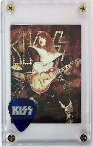 KISS Ace Frehley marble blue logo guitar pick / Legends trading card display!!!