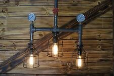 * Edison Age industrial Pipe Light Chandelier 3- Light ,Pipe Light Art  Rustic .