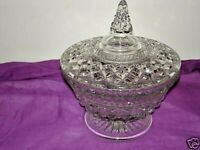 Vintage Anchor Hocking Wexford Clear Glass Covered Candy Dish Bowl with Lid
