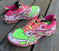 Women's Asics Gel Noosa Tri 6 Running Shoes 8.5 White Hot Pink Neon Yellow T163N