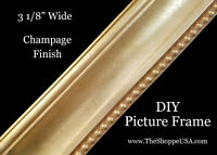 """DIY CUSTOM CUT 3 1/8"""" WIDE Champagne Finish Wood Picture Frame Moulding"""