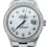 Rolex Datejust Mens Stainless Steel Watch President Band Diamond Dial 1ct Bezel
