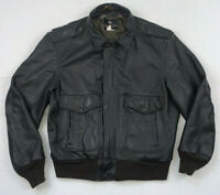 golden fleece vintage 80s usa made brown heavy leather a2 bomber jacket sz 46