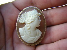LARGE ANTIQUE VINTAGE VICTORIAN 14K GOLD CAMEO PENDANT PIN BROOCH W SEED PEARLS