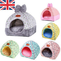 Small Pet Cat Dog Warm Bed Tent Triangle Foldable Cave House Print Bow Kennel