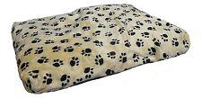 A & Z beige with paw prints dog bed duvet puppy fleece soft 80 x 55 x 8cm