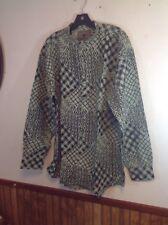 vintage dead stock 1980's generra shirt large 80's mens green black button up