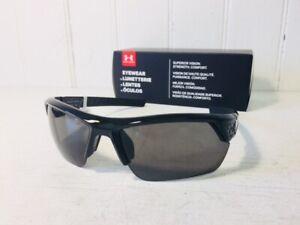 UNDER ARMOUR IGNITER 2.0 Shiny Black Frame w Gray Lenses Sport Wrap Sunglasses