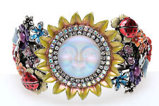 KIRKS FOLLY HAPPY SEAVIEW MOON SUNFLOWER HINGED CUFF BRACELET ST~NEVER RELEASED~