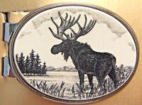 Money Clip Oval Barlow Scrimshaw Moose Silver Moneyclip Double Spring 539609 NEW