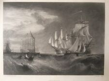 1826 Antique Print;  Spithead, Hampshire, by Turner.  Good size.