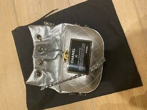 Chanel Gabrielle Drawstring Bag Quilted Calfskin Small Silver