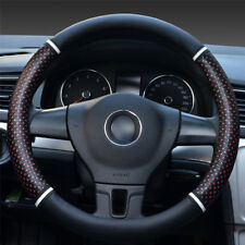 "15"" PU Leather Ice Silk Car Steering Wheel Cover Universal Hollow out design"