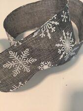 "Gray Burlap Look White Snowflake Christmas Wire Edged Ribbon 2-1/2"" x 5 Yards"