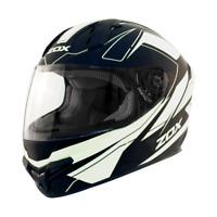 Motorcycle Helmet Full Face DOT Snell Zox Primo C Matte White Black Race Track