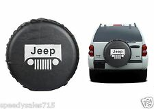 "Black Jeep Wrangler Grill Logo Spare Tire Cover Wheel R15 27""-30"" New Free Ship"