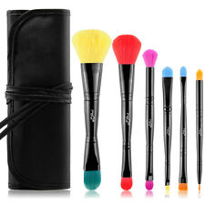MSQ PRO Duo Ended 6PCs Makeup Brushes Set Cosmetic Tool Multi-Colored Synthetic