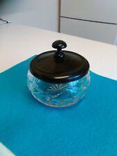 Cut Glass Dressing Table Jar with Ebony Lid (600)