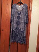 Ashro Blue Multi Summer Lavita Dress Size M Medium or 3X 24W 26W PLUS