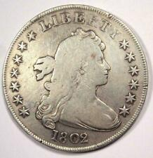 1802/1 Draped Bust Silver Dollar $1 - VG / Fine Details - Rare Overdate Coin!