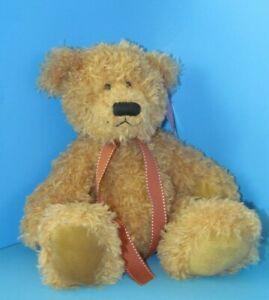"Russ Berrie ""Brawson"" Tan Teddy Bear Plush w/Brown Ribbon & Hanging Tag 12"" L@@K"