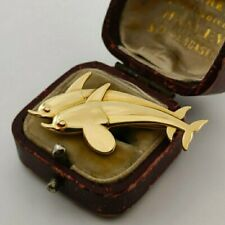18ct Yellow Gold Georg Jensen 750 Purity Dolphin Brooch 1317 Harald Nielsen 1966