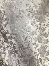 WHITE METALLIC CHINESE BROCADE FABRIC (60 in.) Sold By The Yard