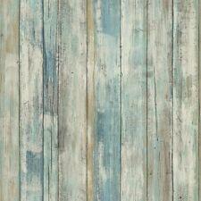 RMK9052WP Blue Distressed Rustic Wood Peel & Stick Wallpaper Wall Decal Decor