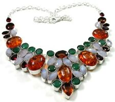 Attractive! Faceted Moon Stone Multi Gem Stone 925 Silver Plated Necklace