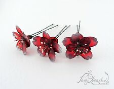 Red Sakura Flowers Set of 3 Hair Pins Japanese Kanzashi Sakae Glass Resin Stick