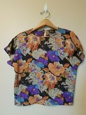 Vintage As Izz Blouse Top Shirt L Lg Large Pullover Short Sleeve Floral Colorful