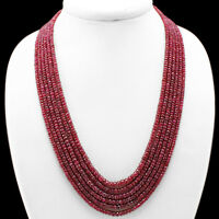 ATTRACTIVE 591.00 CTS NATURAL 6 LINE RED RUBY FACETED BEADS NECKLACE - (DG)