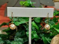 ZZ 14K Yellow Gold Pearl Earrings  2.5 grams
